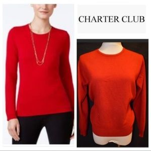 Charter Club Red Crewneck 100% Cashmere Sweater